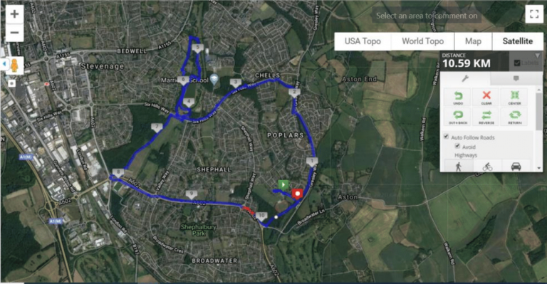Stevenage Half Marathon route